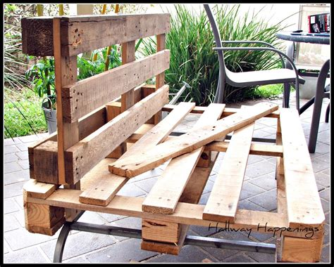 Furniture Made With Pallets by Hallway Happenings Pallets Become Outdoor Furniture