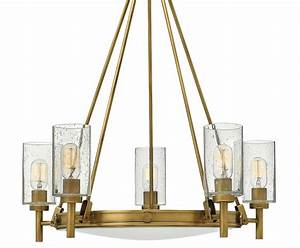 Hinkley Collier 5 Light Chandelier Seeded Glass Shades