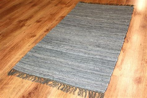 Round Rug Blue by Rag Rugs Cotton Grey Rag Rugs