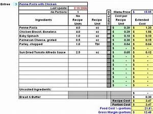 restaurant inventory recipe costing menu profitability With food costing sheet template