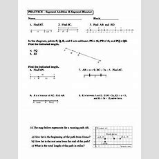 Geometry Unit 1 Segment Addition And Segment Bisector Worksheet Tpt