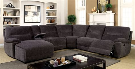 Sectional With Recliners karlee ii transitional style gray chenille fabric
