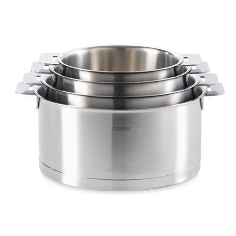 batterie de cuisine cristel 4 casseroles strate ligne l 14 16 18 et 20 cm cristel