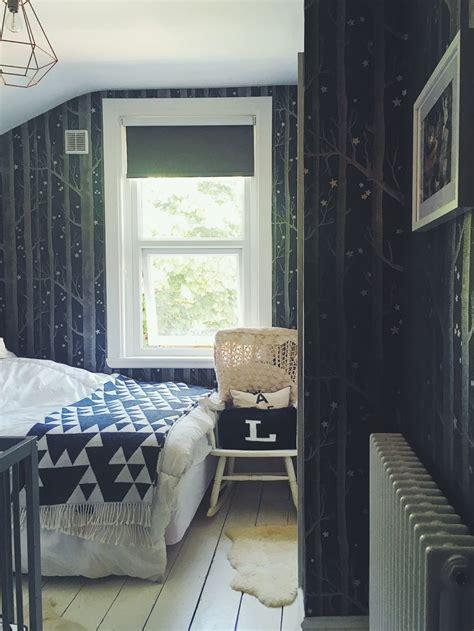 cosy guest bedroom  cole  son wallpaper woods