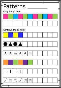 repeating patterns worksheet copy continue  create tpt