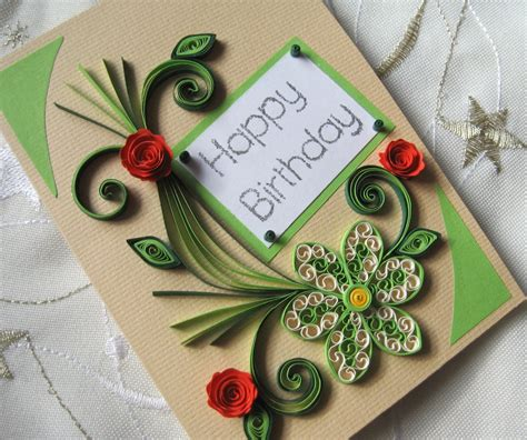 happy birthday card handmade quilling card quilled