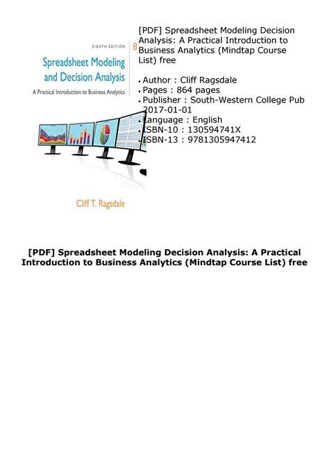 spreadsheet modeling  decision analysis  edition