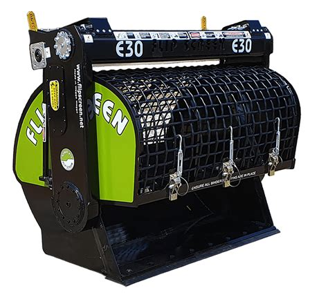 flipscreen mini excavator bucket range  load  material