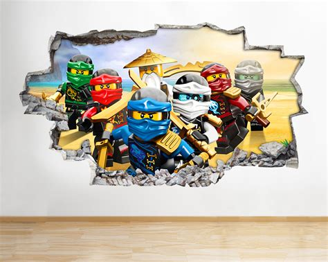 h986 lego ninjago toys tv smashed wall decal 3d