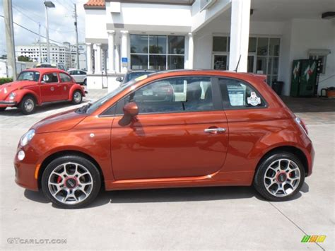 Fiat 500 Orange by Rame Copper Orange 2012 Fiat 500 Sport Exterior Photo