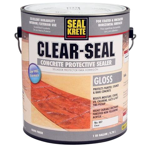 seal krete floor tex home depot seal krete 1 gal clear seal gloss sealer low voc 607001