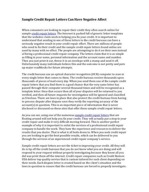 credit repair letters sle credit repair letters 17539