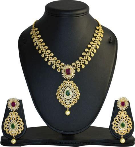 gold plated cz necklace set  mp fine jewellery south