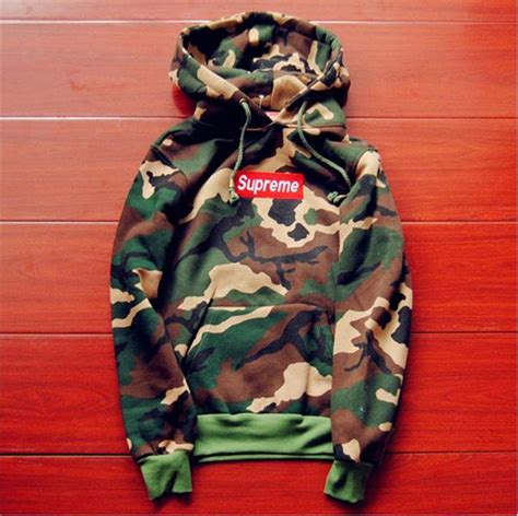supreme clothing shoes camouflage supreme s hoodie embroidered cotton sweater