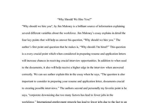 Why Should We Hire You Answers by Sle Essay About Why Should We Hire You Mfawriting760
