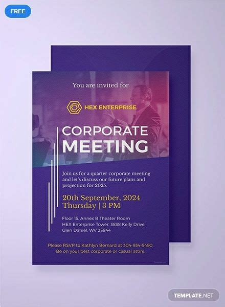 A corporate invitation template that you can download for