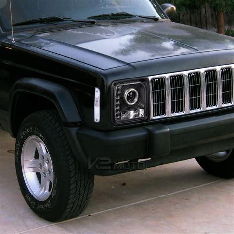 jeep black headlights 97 01 jeep cherokee single halo smd led projector
