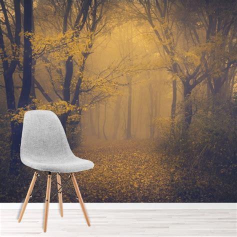 misty wood wall mural forest landscape wallpaper living