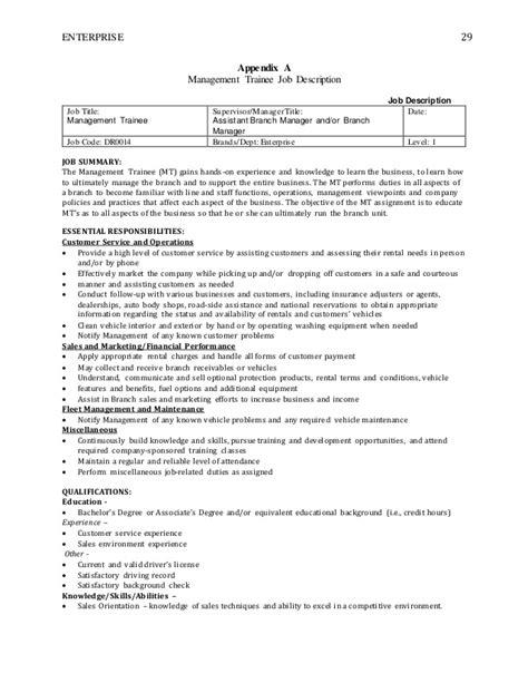 Enterprise Management Trainee Resume by Enterprise