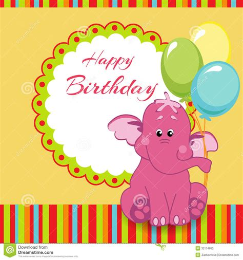 Happy Birthday Card With Pink Elephant Stock Vector