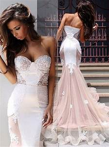 Strapless Pink Mermaid Long Wedding Dress With White Lace