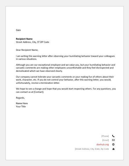 Warning Letters for Various Unprofessional Behaviors