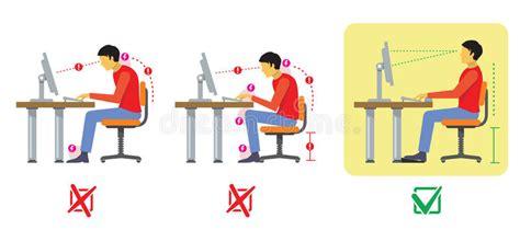posizione seduta corretta icone umane di anatomia di dolore di corpo illustrazione