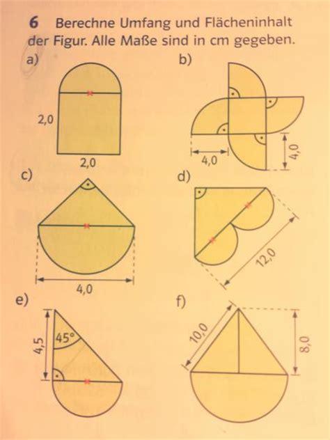 flaecheninhalt und umfang der figuren mit kreisteilen