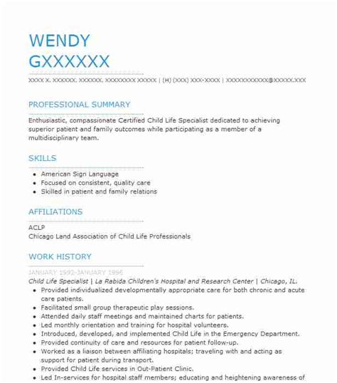 Live Career My Resume by Child Specialist Resume Sle Resumes Misc