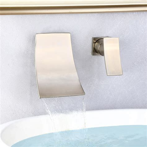 shoop brushed nickel wall mounted waterfall bathroom sink faucet bathroom sink faucets faucets