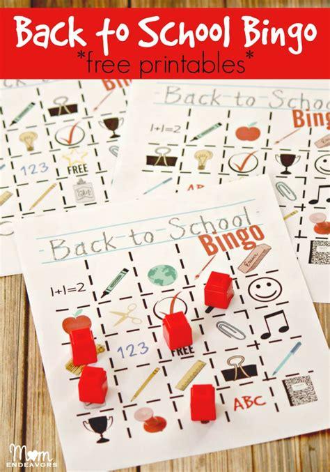 back to school bingo free printables