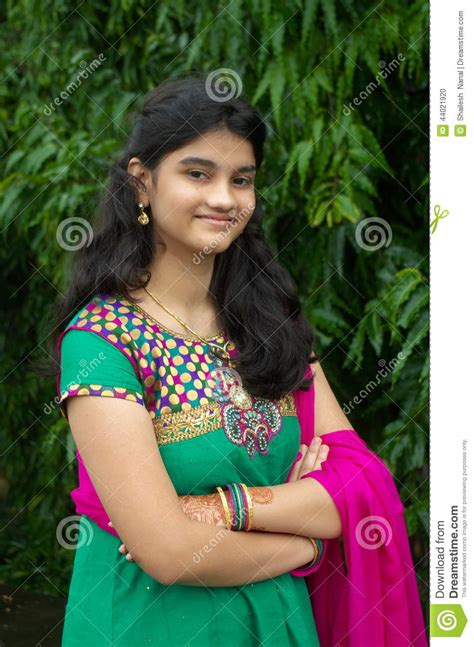simple indian girl stock photo image