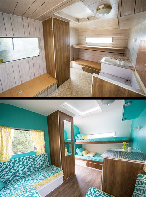 before after photos of our restored vintage caravan