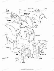 Kawasaki Atv 1999 Oem Parts Diagram For Front Fender S