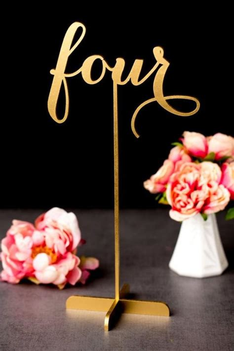 gold wedding table numbers freestanding  base