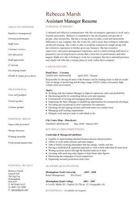 resume format template for job description assistant manager resume retail jobs cv job description exles template duties sles