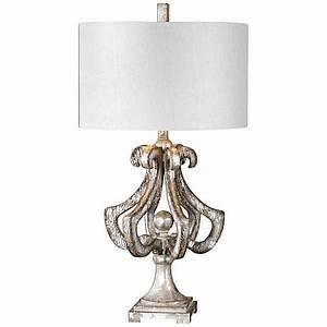 Uttermost vinadio distressed silver leaf table lamp for Distressed silver floor lamp