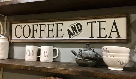 Coffee and Tea Sign / Coffee Bar Signs / Kitchen Signs / Tea