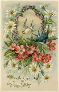 Card Vintage Happy Birthday Flowers