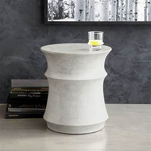 Sculpted drum side table west elm for Concrete drum coffee table