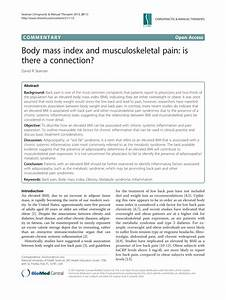 Pdf  Body Mass Index And Musculoskeletal Pain  Is There A