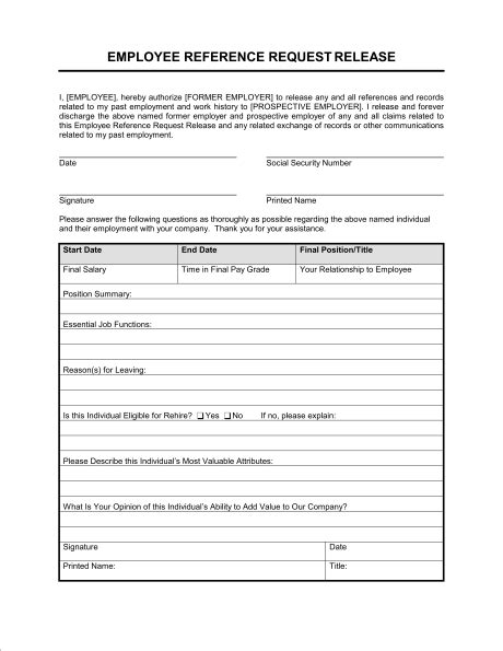 Employment Reference Request Template by Reference Request And Release Template Sle Form