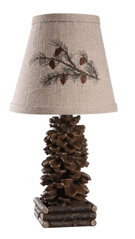 lodge style l shades set of 2 rustic lodge pinecone accent ls with