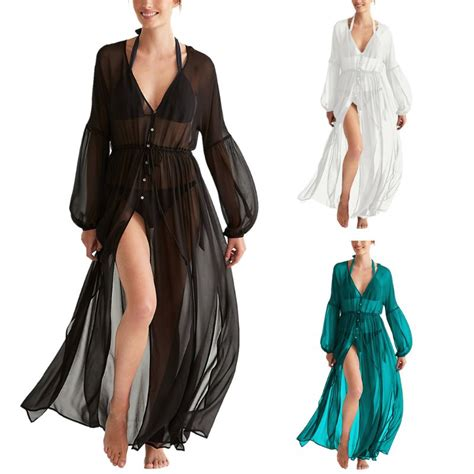 lantern sleeves swimsuit cover up dress semi sheer v neck solid color 6 buttons