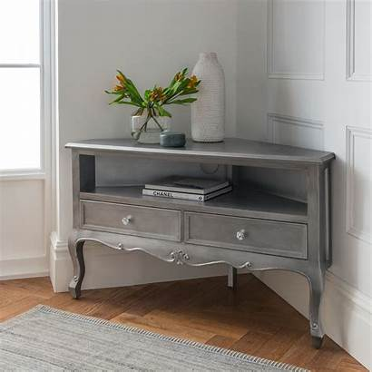 Tv Corner Antique Cabinet French Silver Shabby