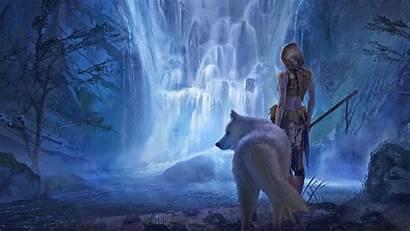 Wolf Wallpapers Fantasy Waterfall Landscape Warrior Blonde