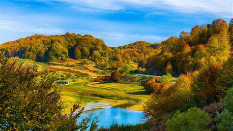 Autumn Scenery, Hills, Forest, Lake, House Wallpaper