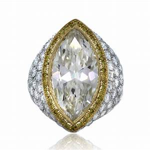 Platinum 18k yellow gold 722 carat marquise cut pave for Marquee wedding ring