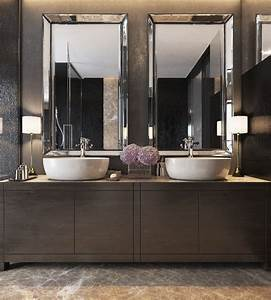 three luxurious apartments with dark modern interiors With 3 simple bathroom mirror ideas