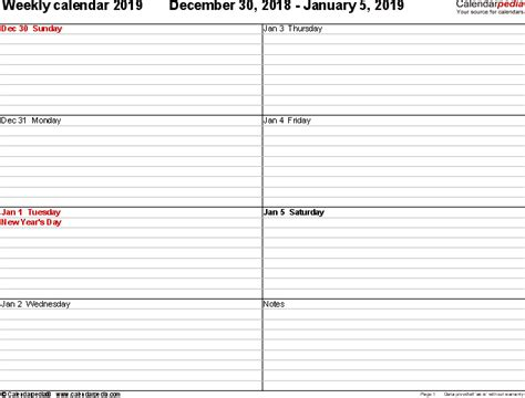 templates for word 2 pages weekly calendar 2019 for word 12 free printable templates